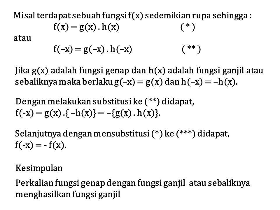 Misal terdapat sebuah fungsi f(x) sedemikian rupa sehingga :