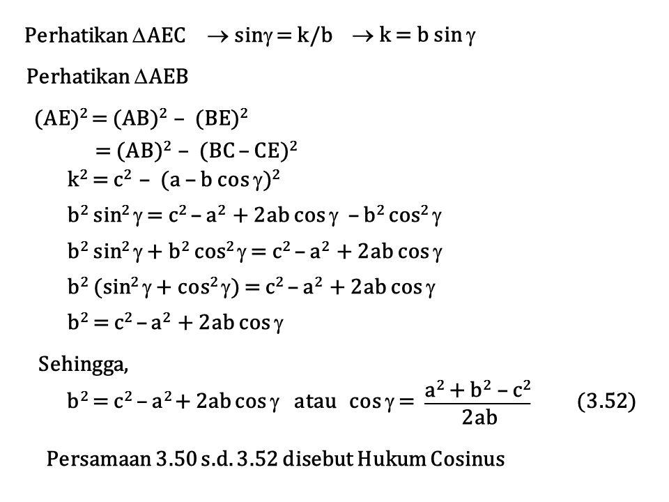 Perhatikan AEC  sin = k/b.  k = b sin  Perhatikan AEB. (AE)2 = (AB)2 – (BE)2. = (AB)2 – (BC – CE)2.