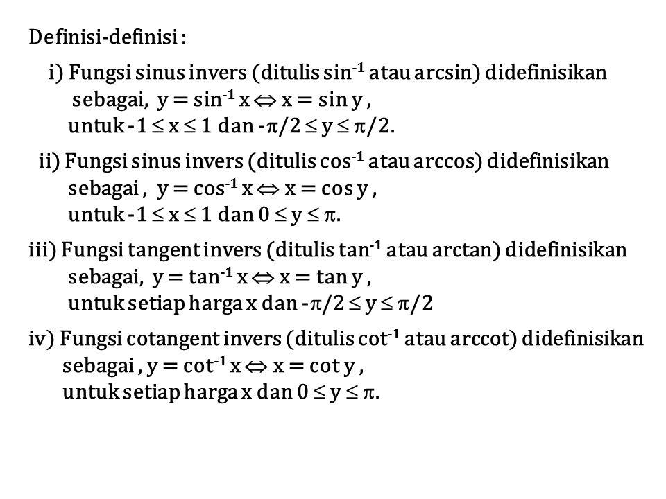 Definisi-definisi : i) Fungsi sinus invers (ditulis sin-1 atau arcsin) didefinisikan. sebagai, y = sin-1 x  x = sin y ,