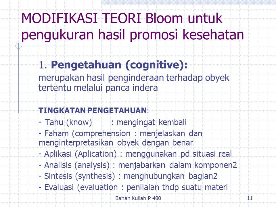 MODIFIKASI TEORI Bloom untuk pengukuran hasil promosi kesehatan