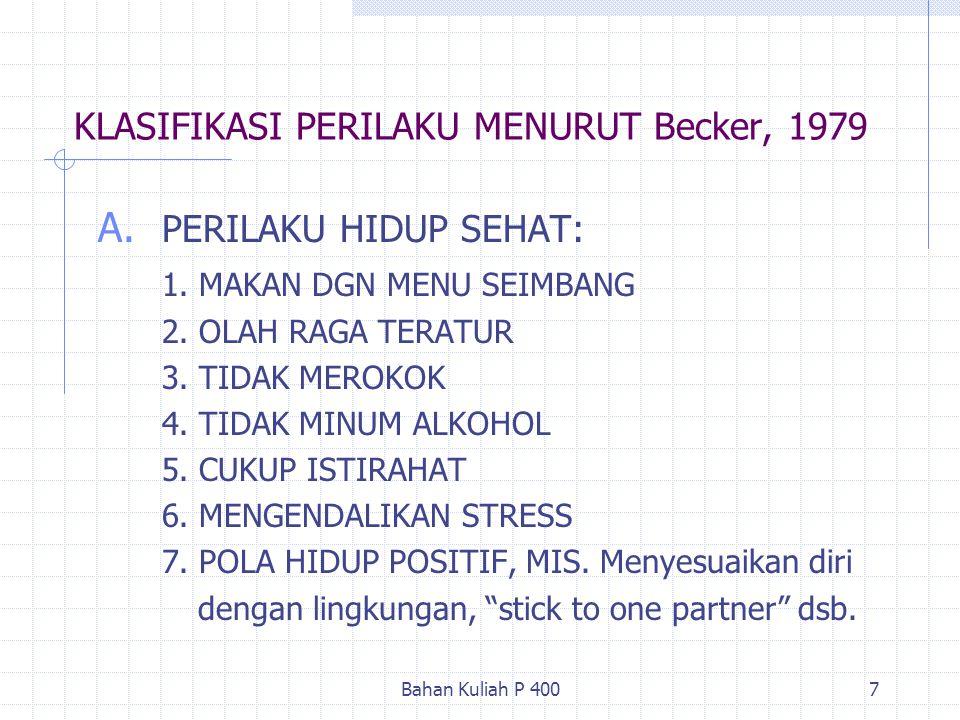 KLASIFIKASI PERILAKU MENURUT Becker, 1979