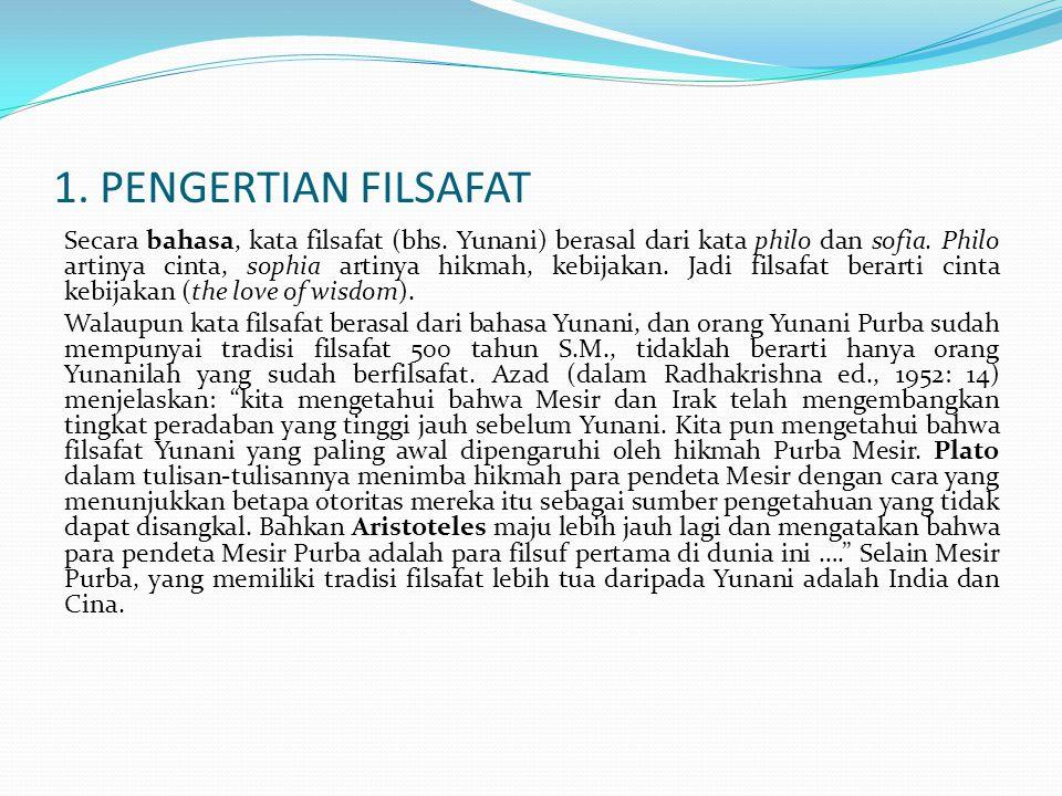 1. PENGERTIAN FILSAFAT