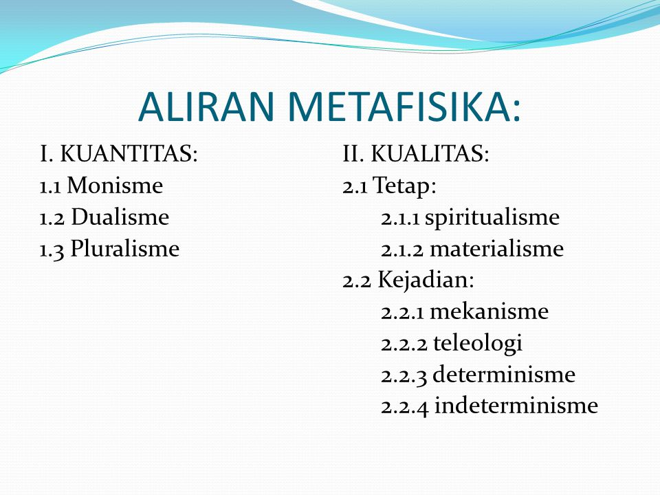 ALIRAN METAFISIKA: I. KUANTITAS: 1.1 Monisme 1.2 Dualisme 1.3 Pluralisme