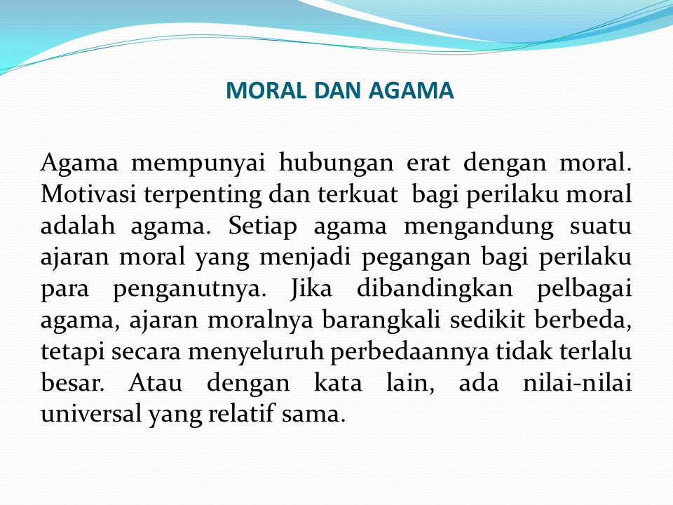 MORAL DAN AGAMA