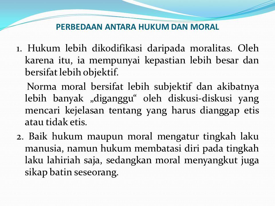 PERBEDAAN ANTARA HUKUM DAN MORAL