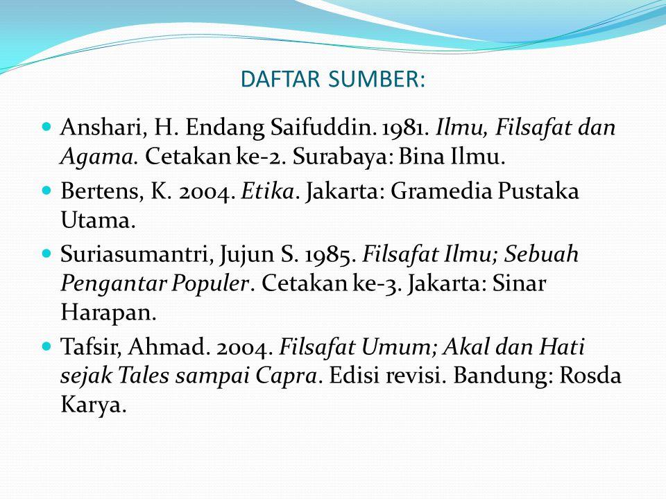 DAFTAR SUMBER: Anshari, H. Endang Saifuddin. 1981. Ilmu, Filsafat dan Agama. Cetakan ke-2. Surabaya: Bina Ilmu.