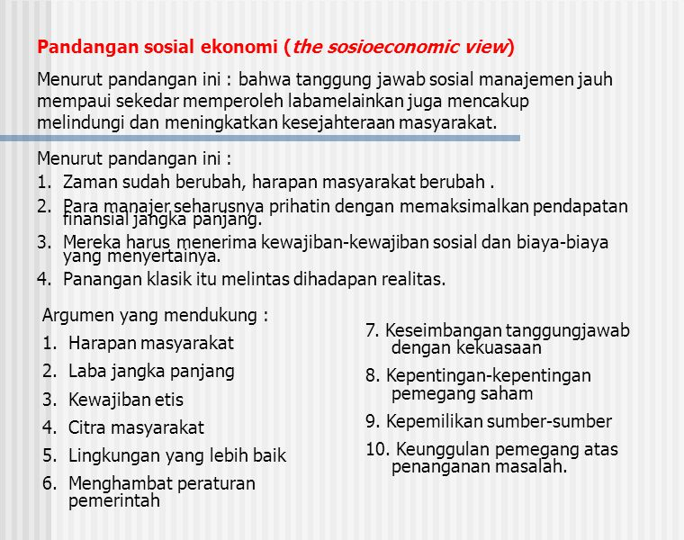 Pandangan sosial ekonomi (the sosioeconomic view)