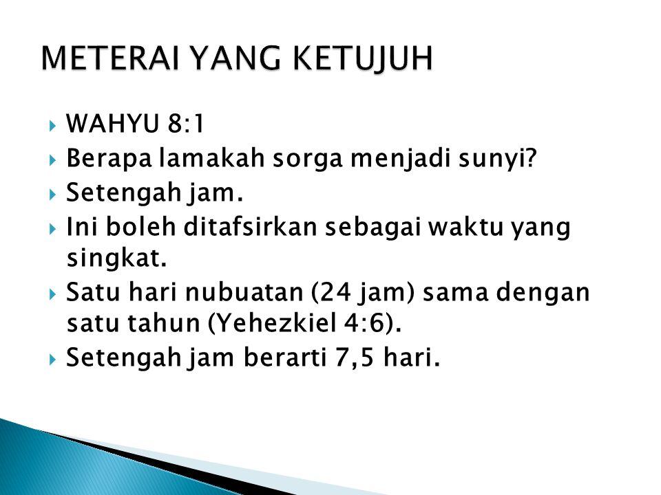 METERAI YANG KETUJUH WAHYU 8:1 Berapa lamakah sorga menjadi sunyi