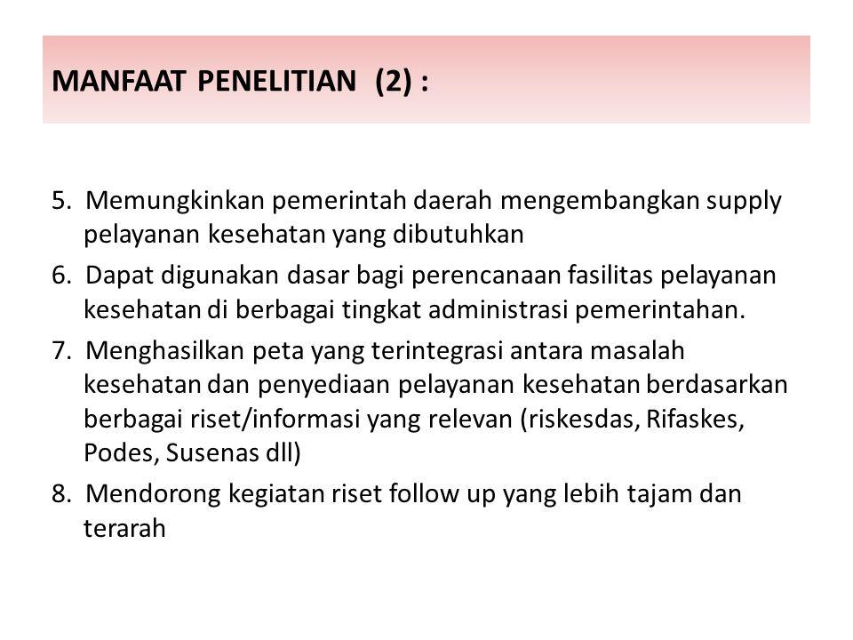 MANFAAT PENELITIAN (2) :