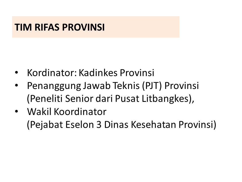 TIM RIFAS PROVINSI Kordinator: Kadinkes Provinsi. Penanggung Jawab Teknis (PJT) Provinsi. (Peneliti Senior dari Pusat Litbangkes),
