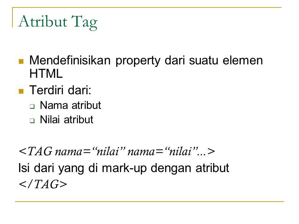 Atribut Tag Mendefinisikan property dari suatu elemen HTML