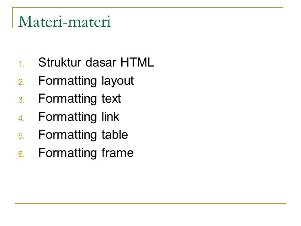 Materi-materi Struktur dasar HTML Formatting layout Formatting text