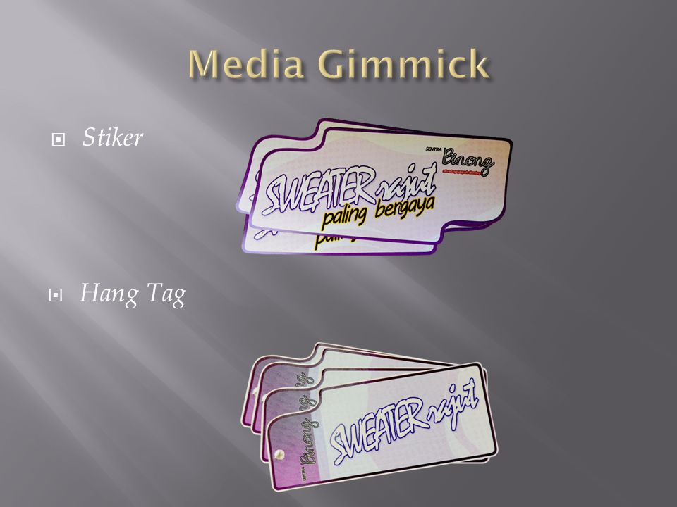 Media Gimmick Stiker Hang Tag