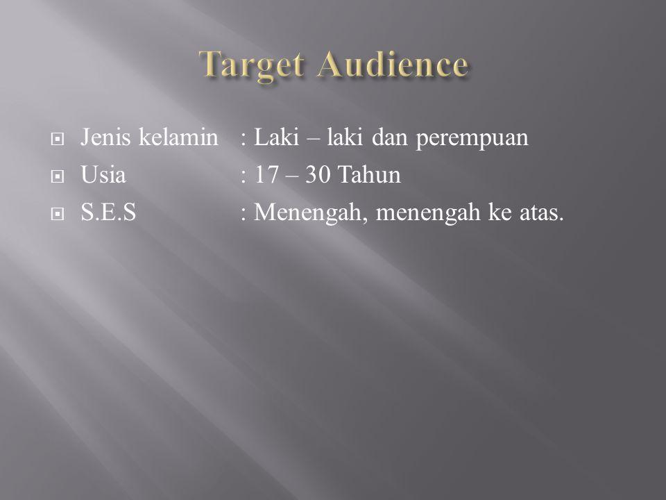 Target Audience Jenis kelamin : Laki – laki dan perempuan