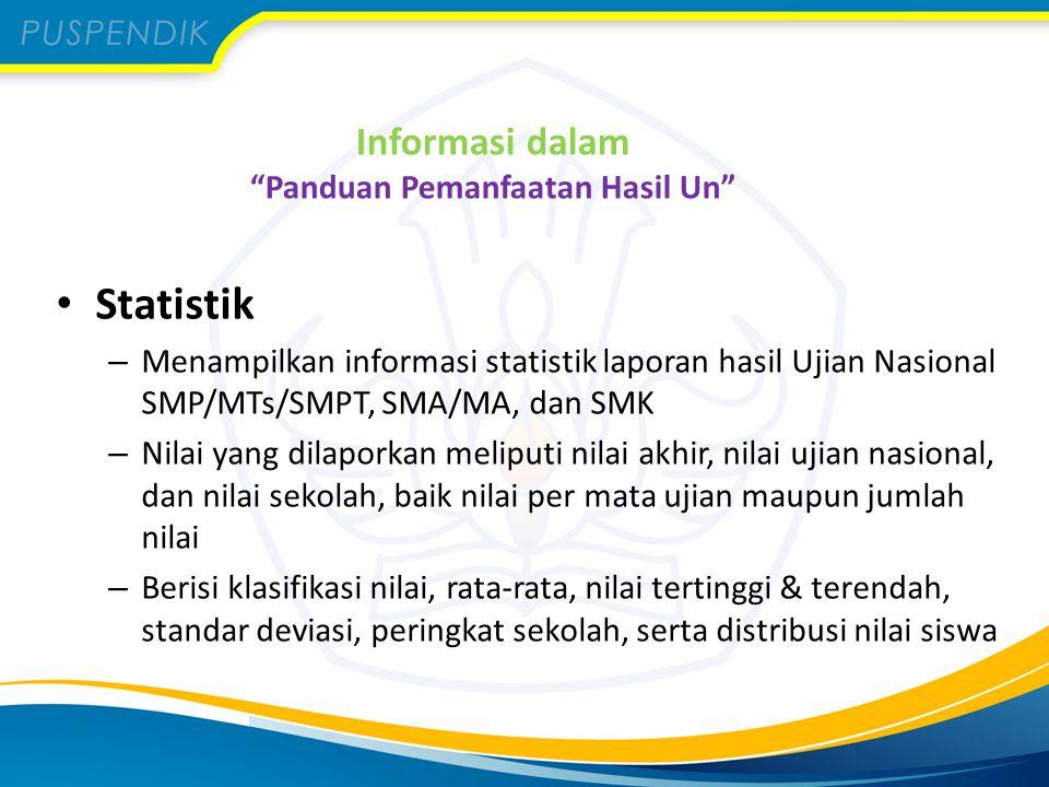 Informasi dalam Panduan Pemanfaatan Hasil Un