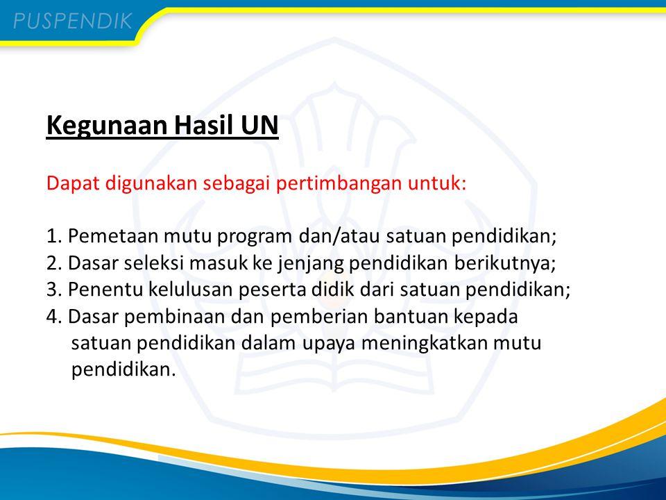 Kegunaan Hasil UN Dapat digunakan sebagai pertimbangan untuk: