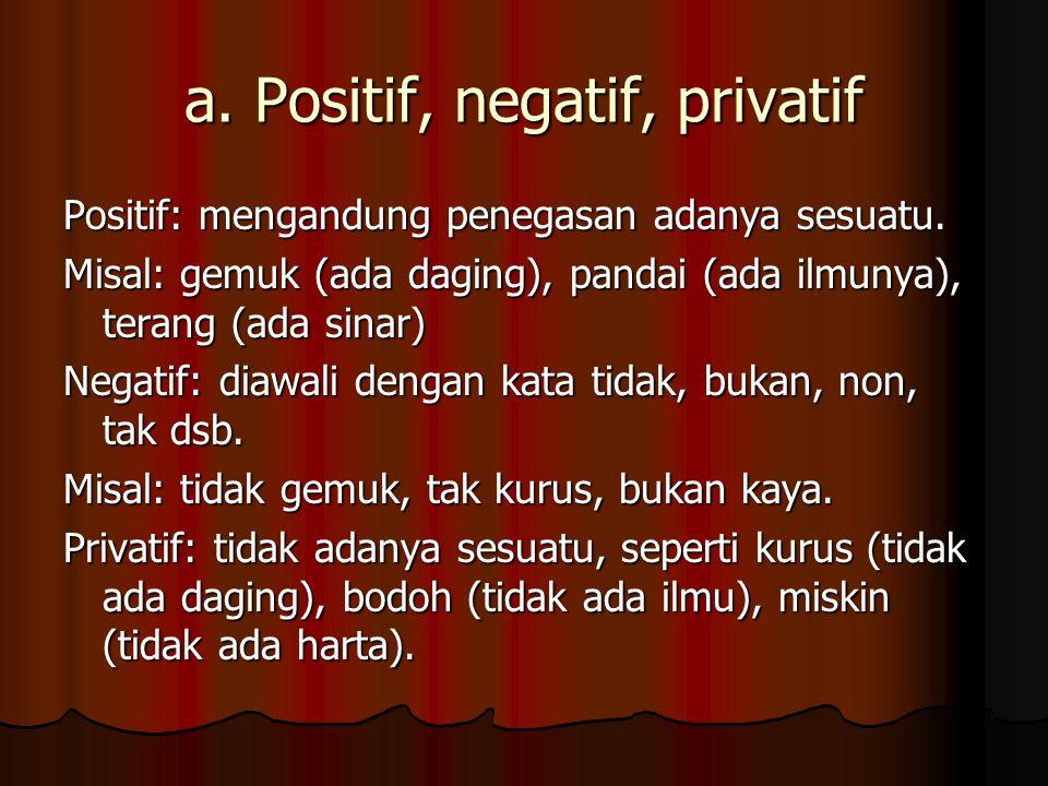 a. Positif, negatif, privatif