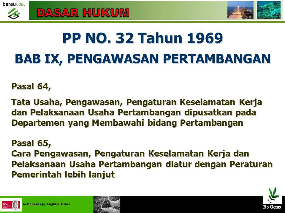 PP NO. 32 Tahun 1969 BAB IX, PENGAWASAN PERTAMBANGAN