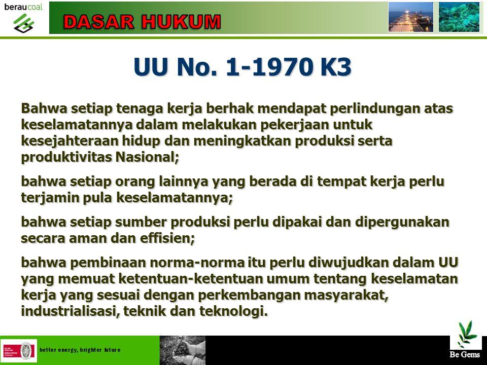 DASAR HUKUM UU No. 1-1970 K3.