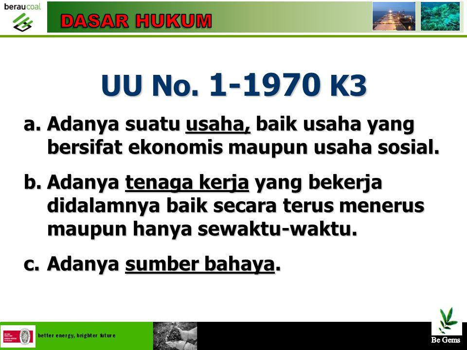 DASAR HUKUM UU No. 1-1970 K3. Adanya suatu usaha, baik usaha yang bersifat ekonomis maupun usaha sosial.