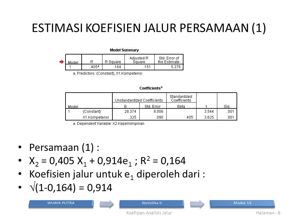ESTIMASI KOEFISIEN JALUR PERSAMAAN (1)