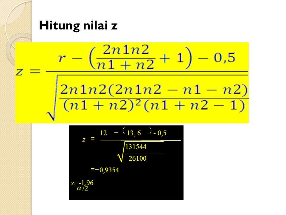 Hitung nilai z ( ) /2 12 13, 6 - 0,5 131544 26100 0,9354 z=-1,96 z a -