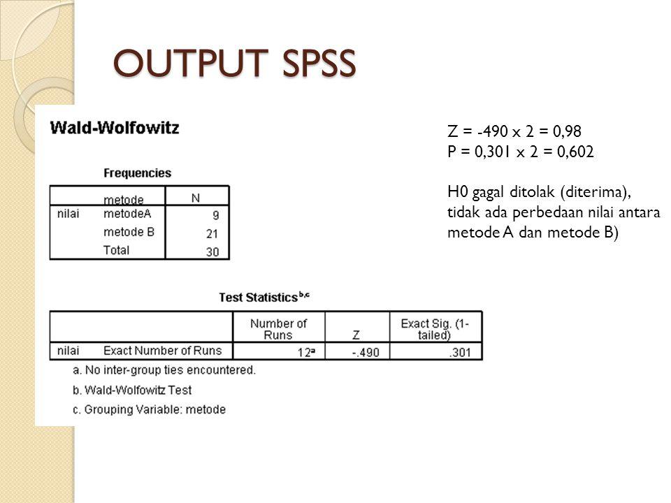 OUTPUT SPSS Z = -490 x 2 = 0,98. P = 0,301 x 2 = 0,602.