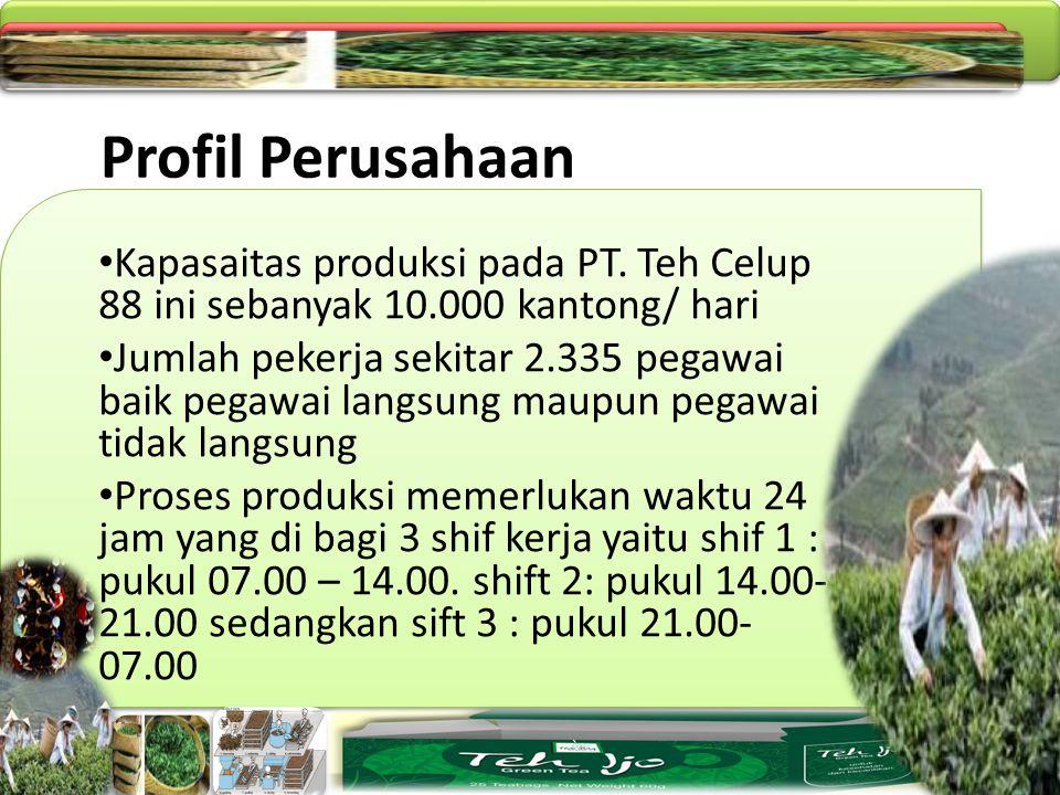 Profil Perusahaan Kapasaitas produksi pada PT. Teh Celup 88 ini sebanyak 10.000 kantong/ hari.