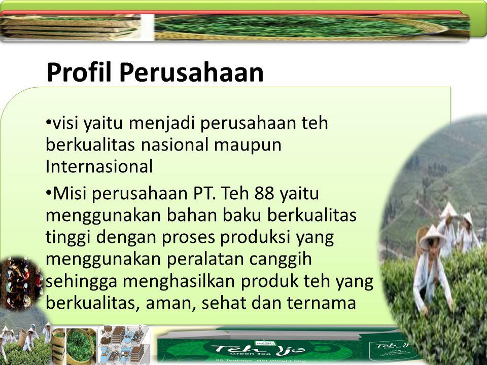 Profil Perusahaan visi yaitu menjadi perusahaan teh berkualitas nasional maupun Internasional.