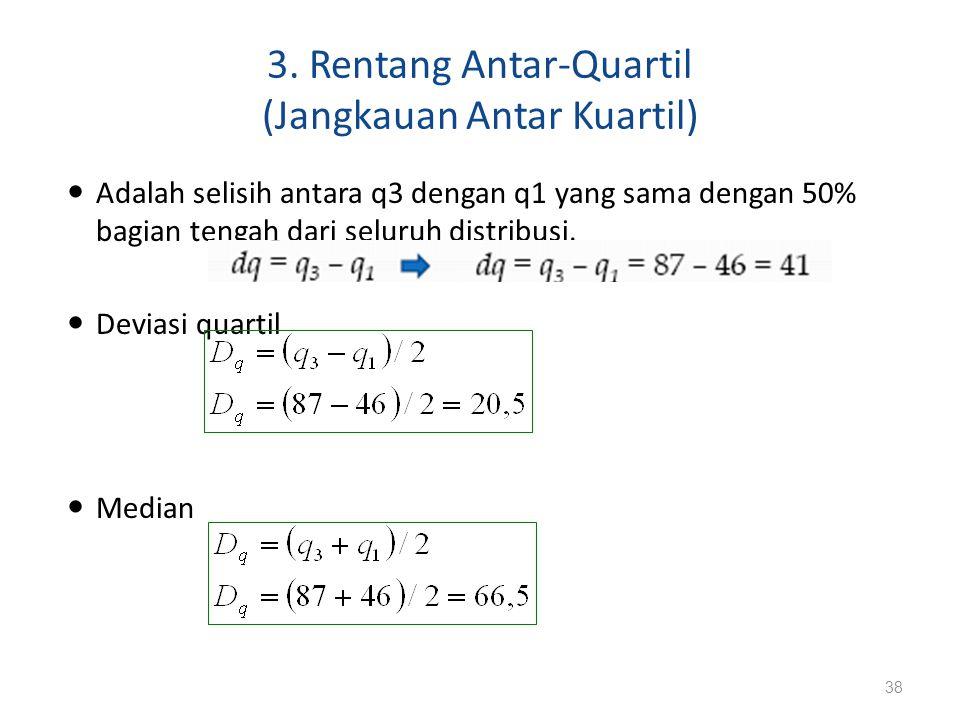 3. Rentang Antar-Quartil (Jangkauan Antar Kuartil)
