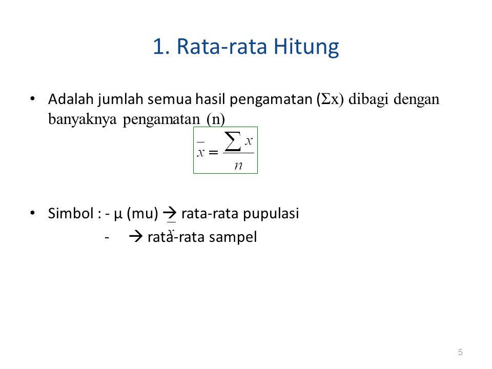 1. Rata-rata Hitung Adalah jumlah semua hasil pengamatan (Σx) dibagi dengan banyaknya pengamatan (n)