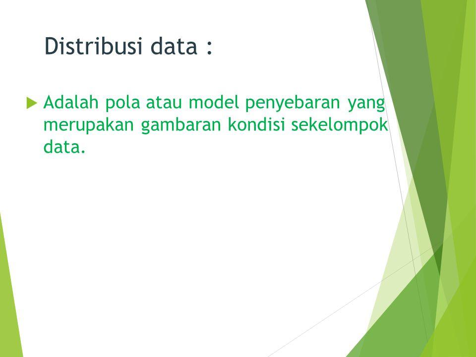 Distribusi data : Adalah pola atau model penyebaran yang merupakan gambaran kondisi sekelompok data.