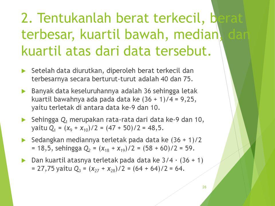 2. Tentukanlah berat terkecil, berat terbesar, kuartil bawah, median, dan kuartil atas dari data tersebut.