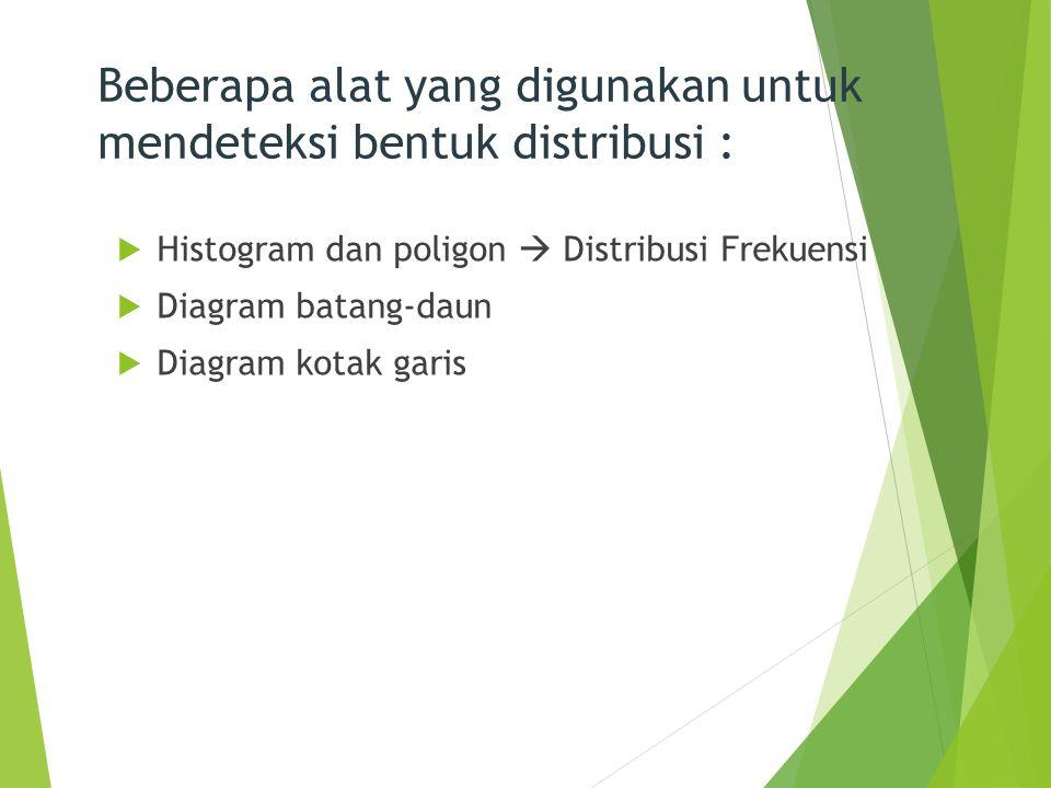 Beberapa alat yang digunakan untuk mendeteksi bentuk distribusi :