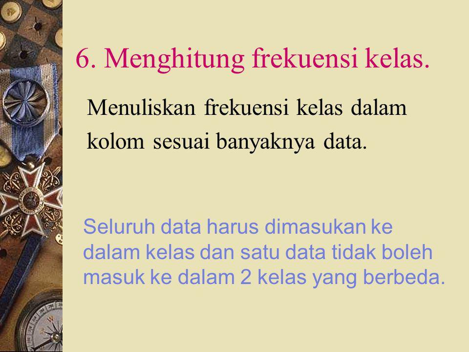 6. Menghitung frekuensi kelas.
