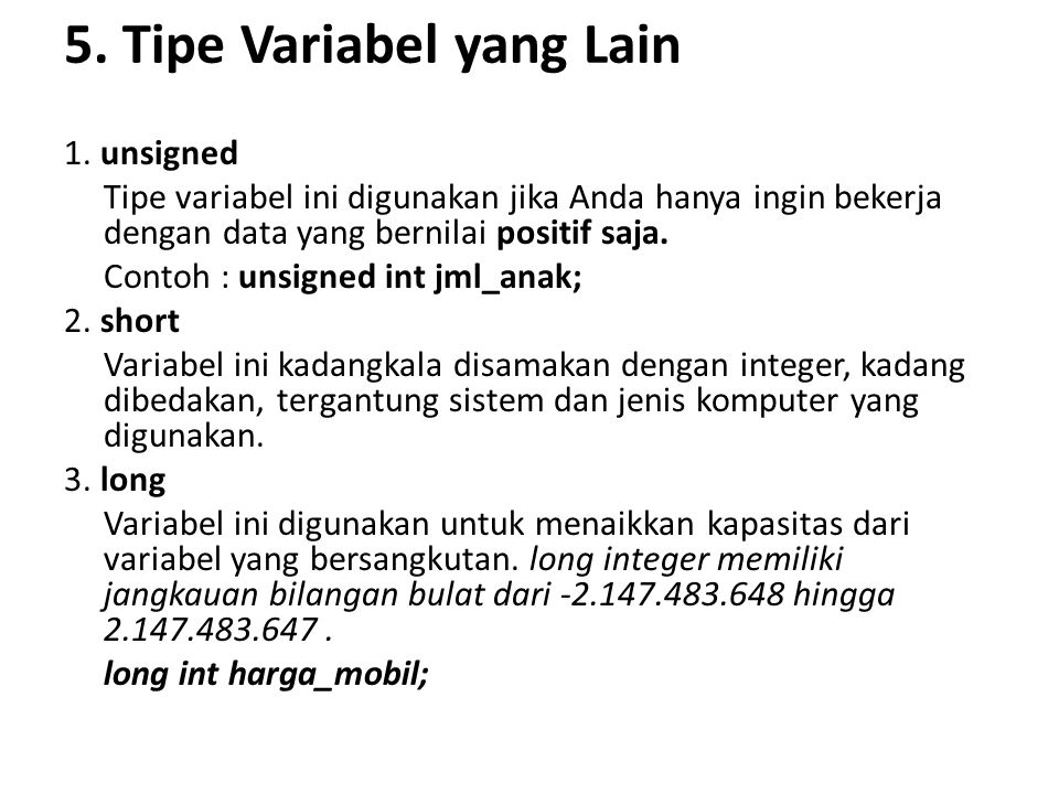5. Tipe Variabel yang Lain