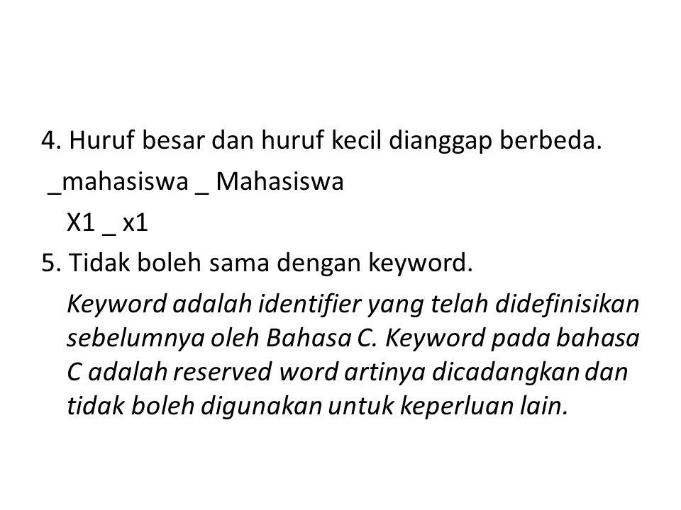 4. Huruf besar dan huruf kecil dianggap berbeda.