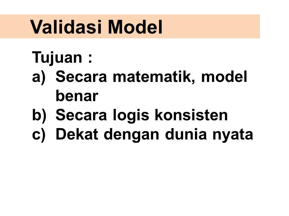 Validasi Model Tujuan : Secara matematik, model benar