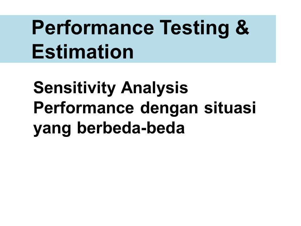 Performance Testing & Estimation
