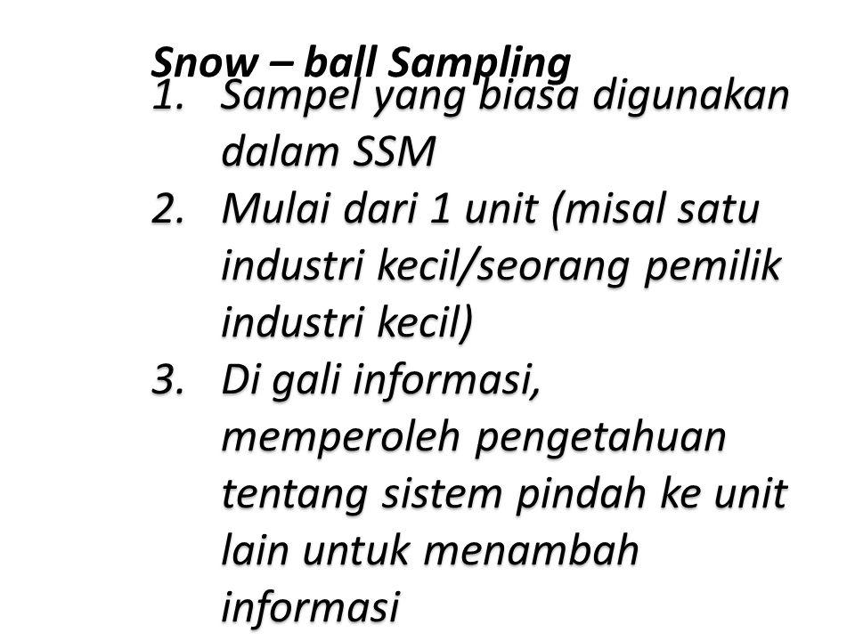 Snow – ball Sampling Sampel yang biasa digunakan dalam SSM. Mulai dari 1 unit (misal satu industri kecil/seorang pemilik industri kecil)
