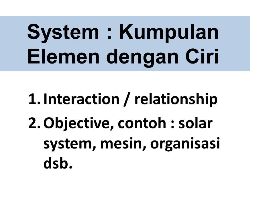 System : Kumpulan Elemen dengan Ciri