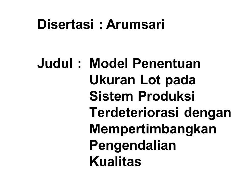 Disertasi : Arumsari Judul : Model Penentuan Ukuran Lot pada Sistem Produksi Terdeteriorasi dengan Mempertimbangkan Pengendalian Kualitas.