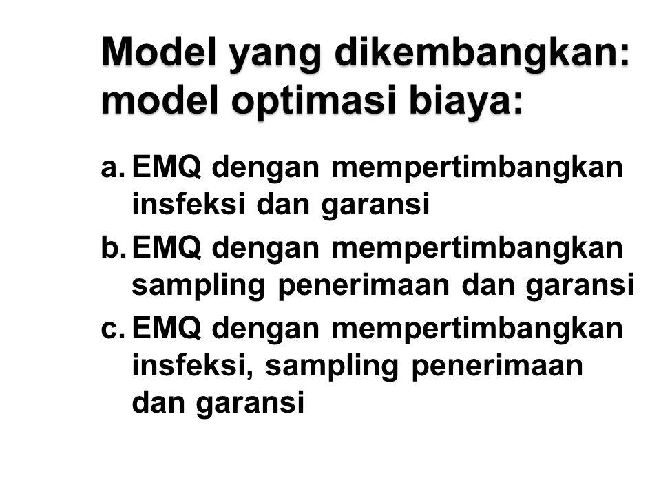 Model yang dikembangkan: model optimasi biaya:
