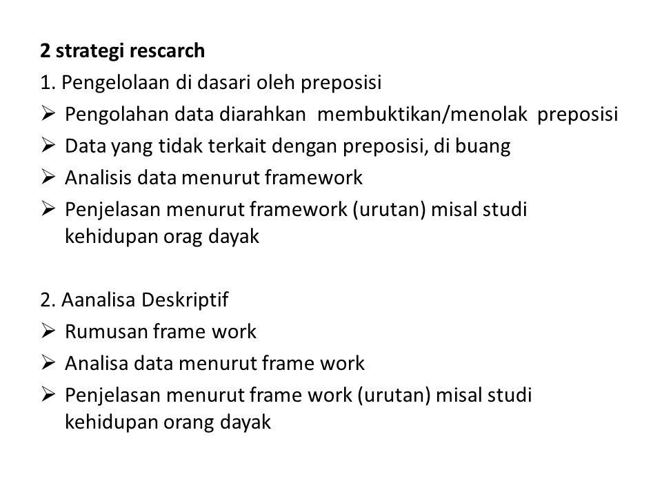 2 strategi rescarch 1. Pengelolaan di dasari oleh preposisi. Pengolahan data diarahkan membuktikan/menolak preposisi.
