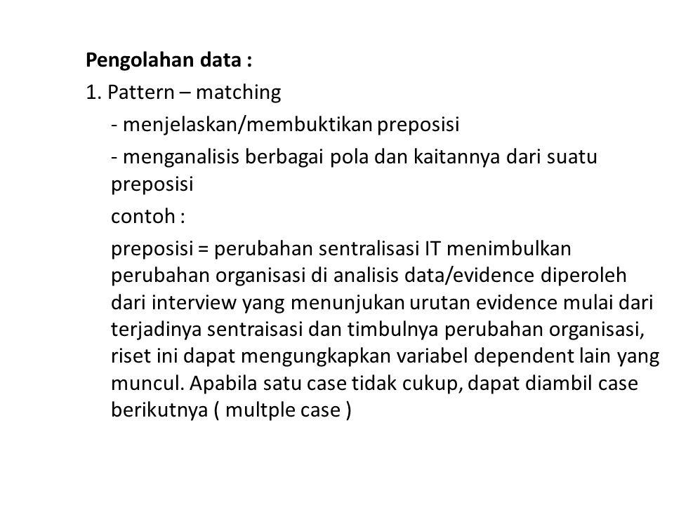 Pengolahan data : 1. Pattern – matching. - menjelaskan/membuktikan preposisi. - menganalisis berbagai pola dan kaitannya dari suatu preposisi.