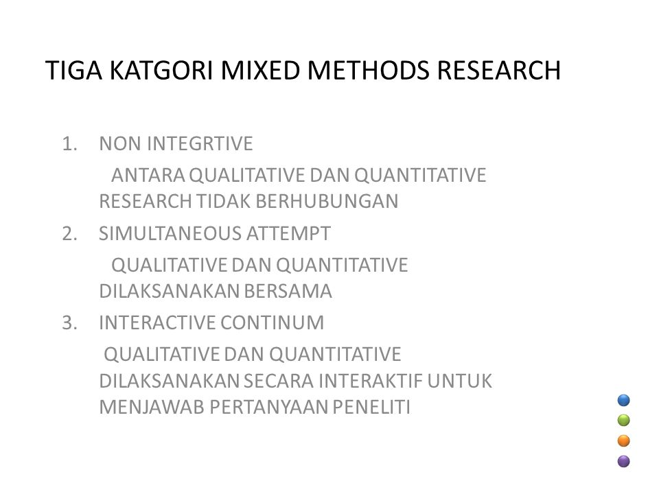 TIGA KATGORI MIXED METHODS RESEARCH