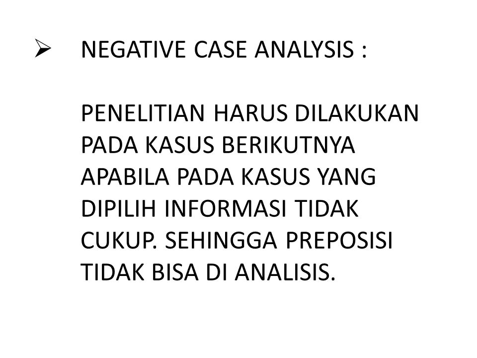 NEGATIVE CASE ANALYSIS :