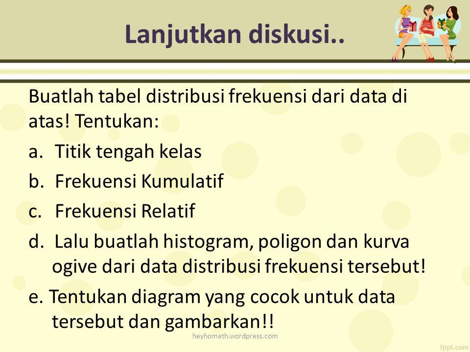Lanjutkan diskusi.. Buatlah tabel distribusi frekuensi dari data di atas! Tentukan: Titik tengah kelas.
