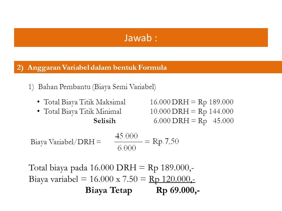 Jawab : Total biaya pada 16.000 DRH = Rp 189.000,-