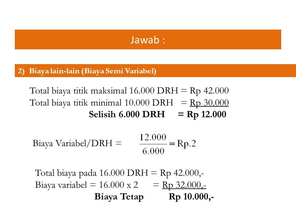 Jawab : Total biaya titik maksimal 16.000 DRH = Rp 42.000